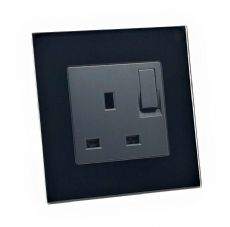 illucio Screwless 1 Gang 13 Amp Switched Plug Socket Black (10 Pack)